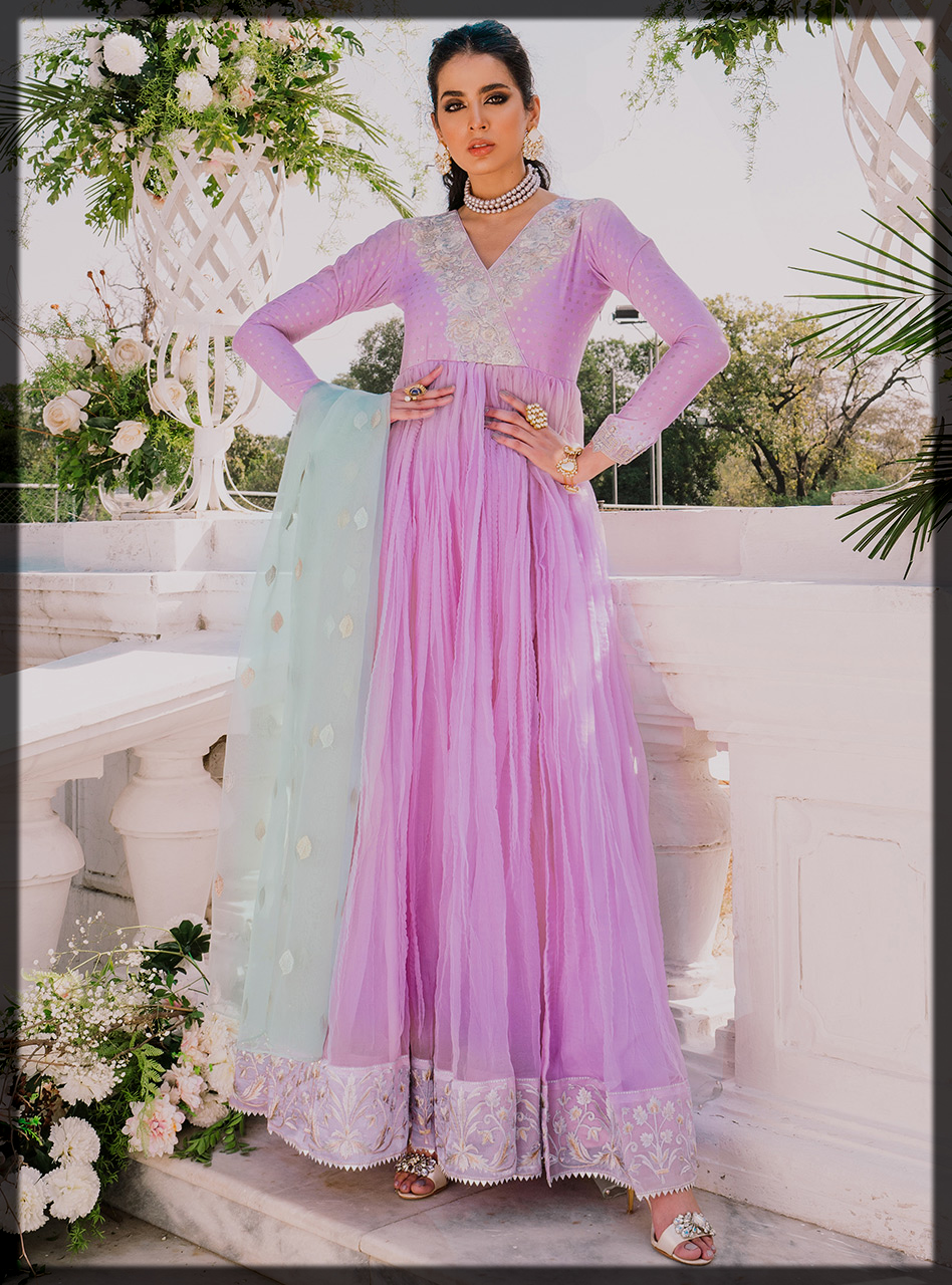 Purple Khaadi and Organza Gown with Embroidered Neckline