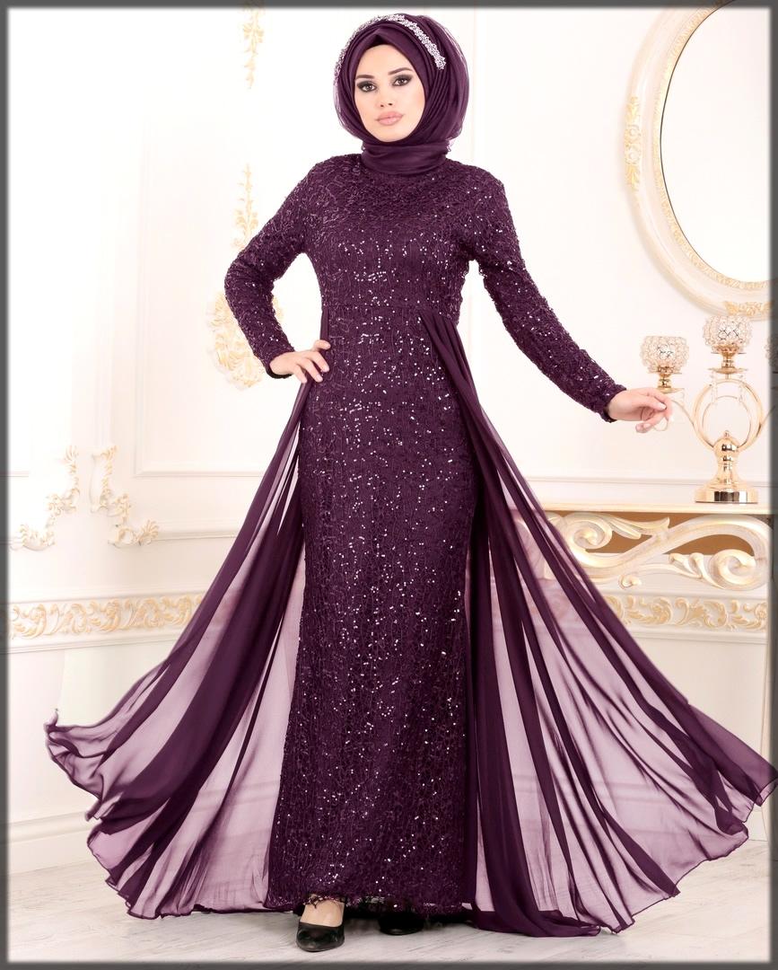Purple glitter wedding abaya dress