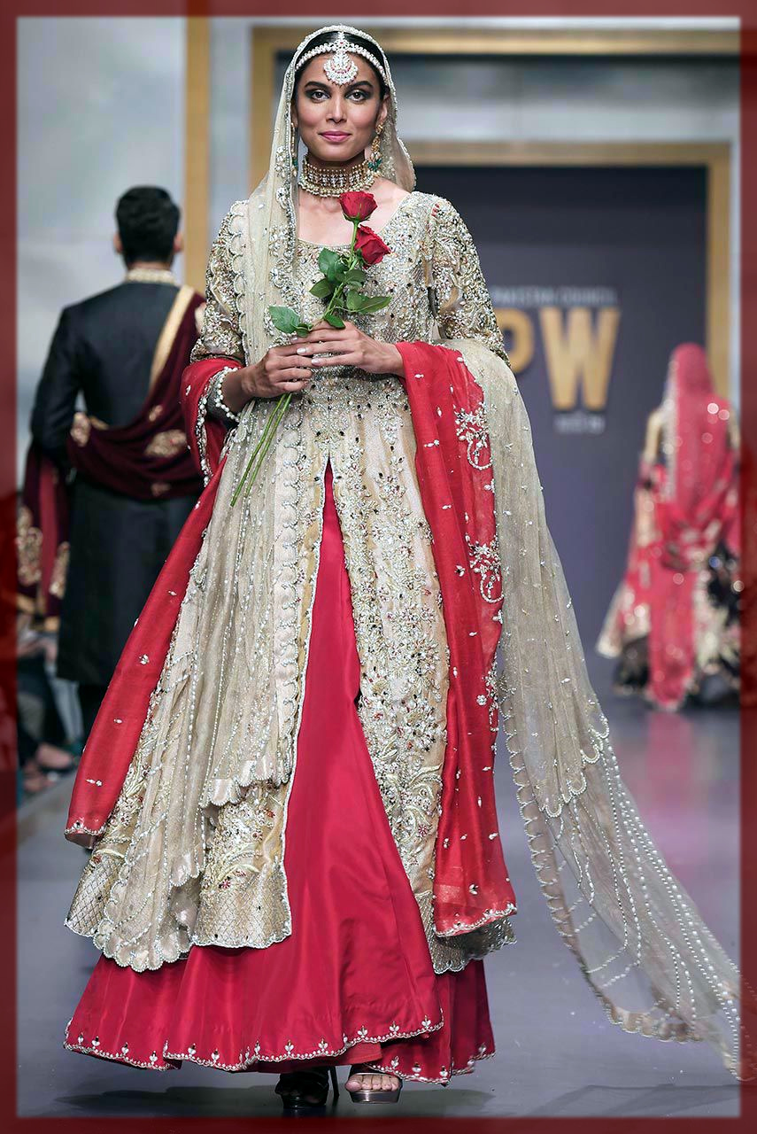 Red and Gold Deepak Perwani Bridal Collection