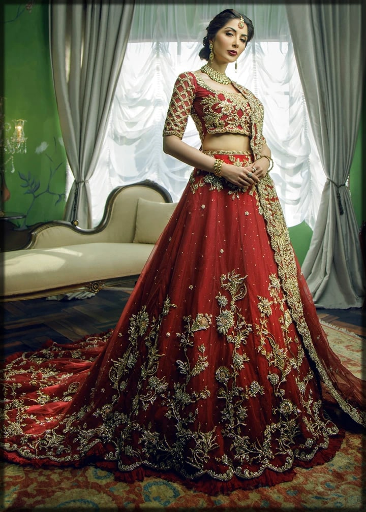 Red bridal lehenga by sadaf fawad khan