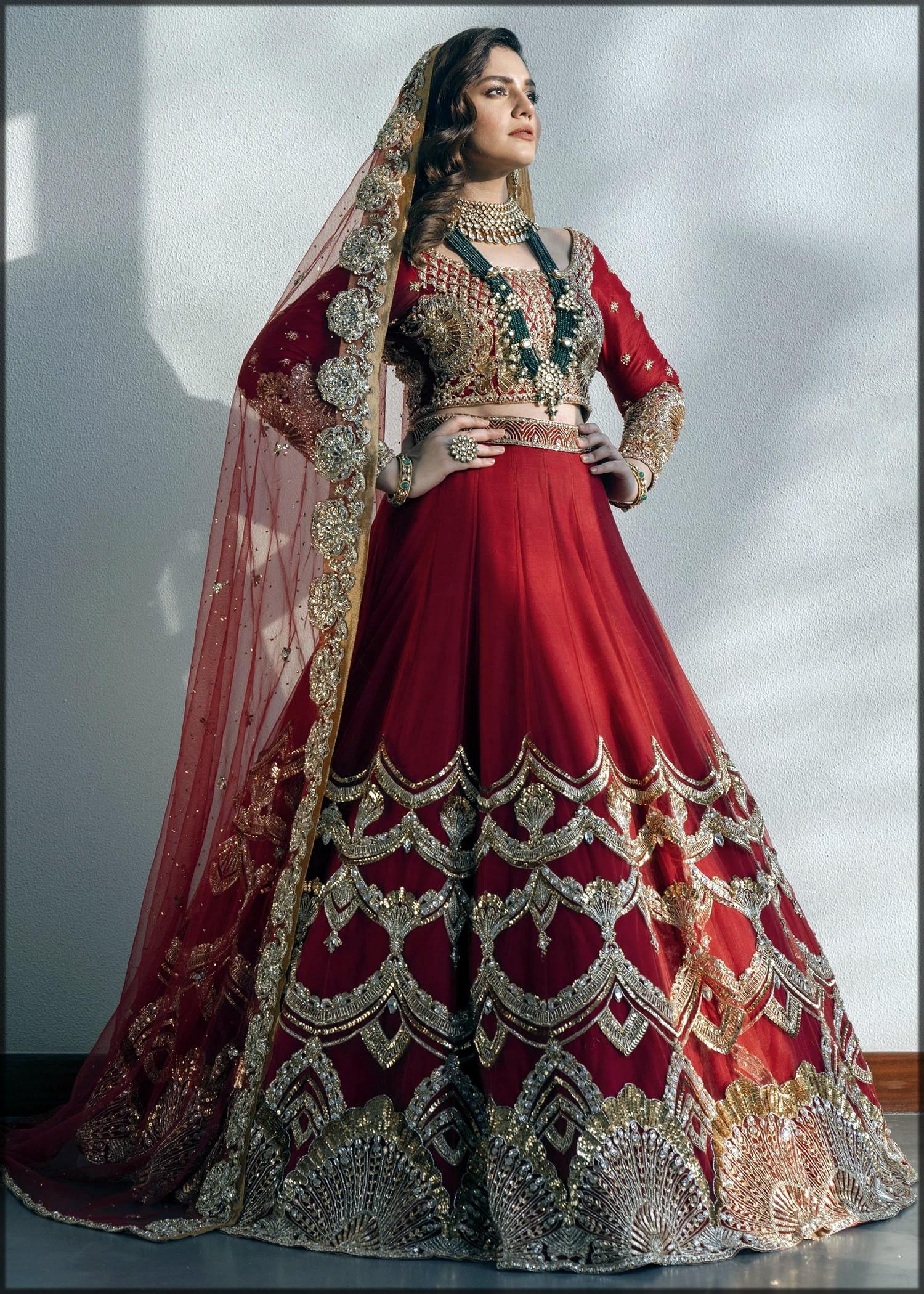 Red lehenga for barat by sadaf fawad khan