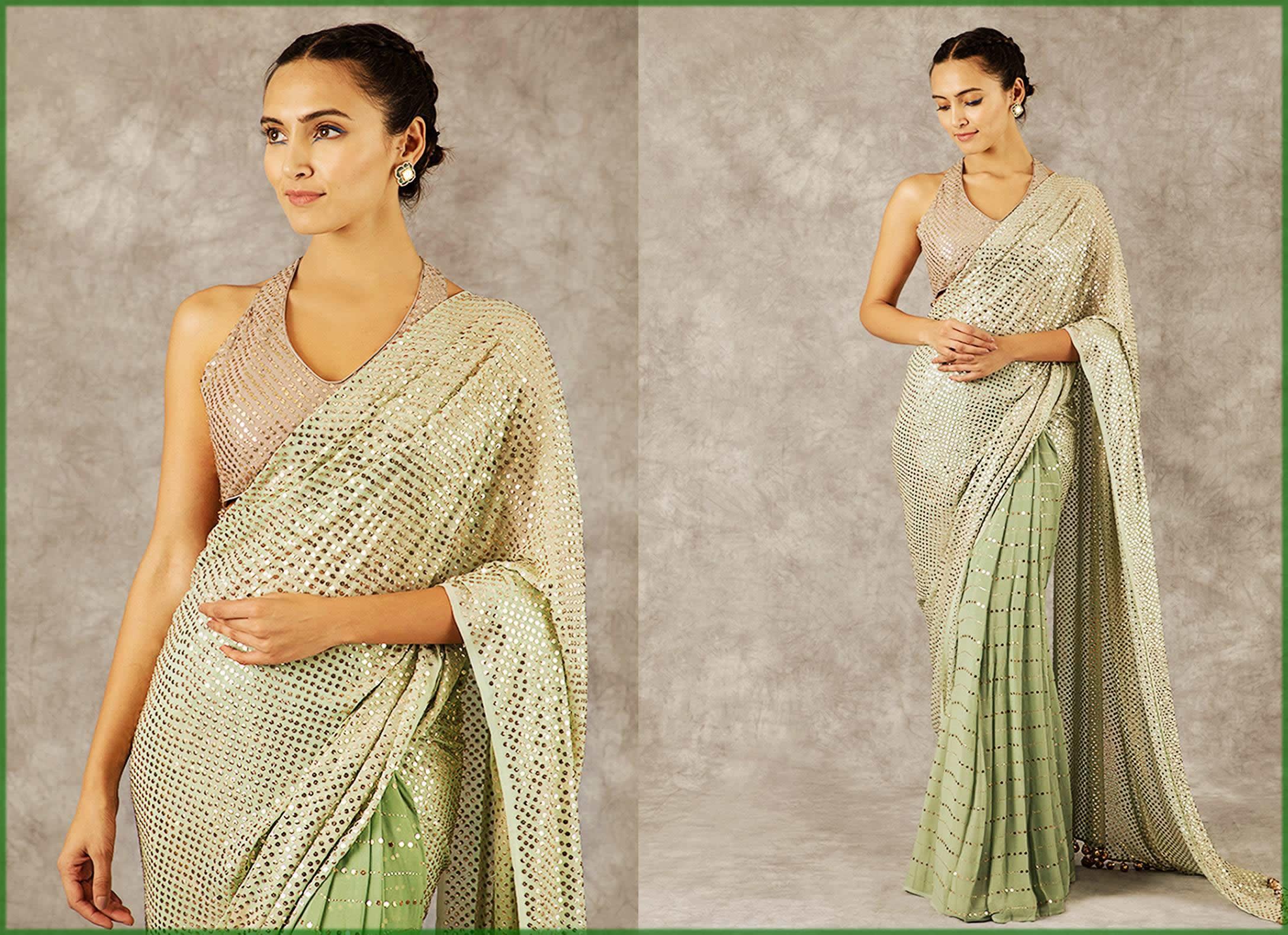 Sage Green Sari
