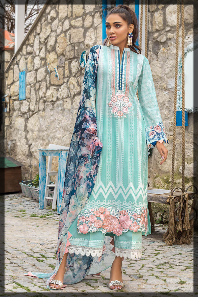 Sea Pearl Embroidered lawn Suit