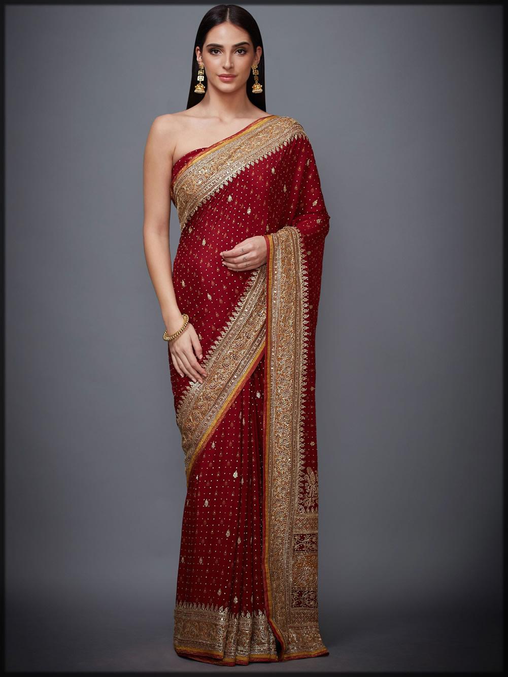 Silk Chinon red bridal saree