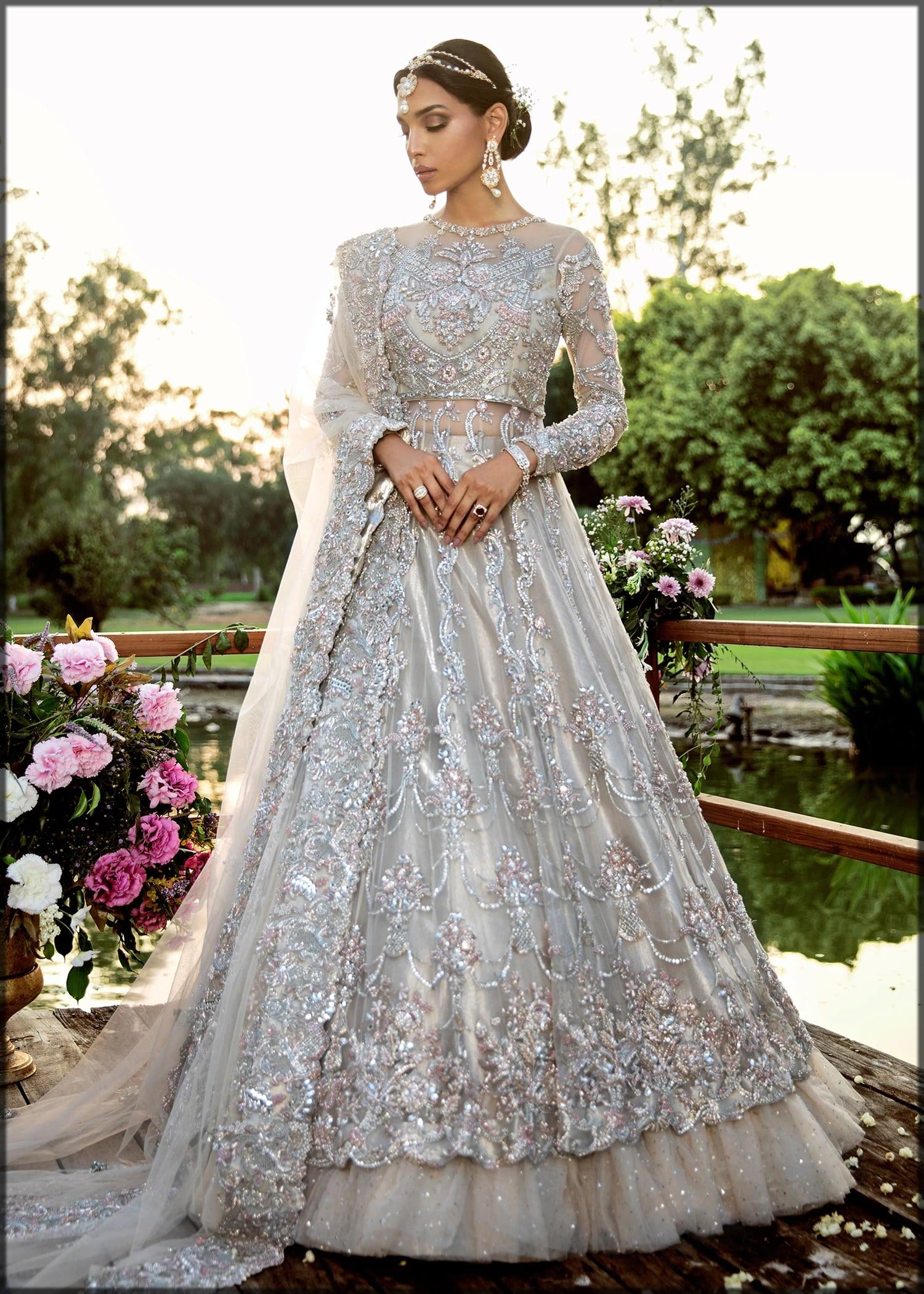 Silver bridal dress by sadaf fawad khan