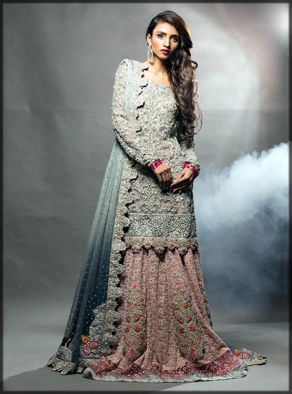 Silver net bridal dress by zainab chottani