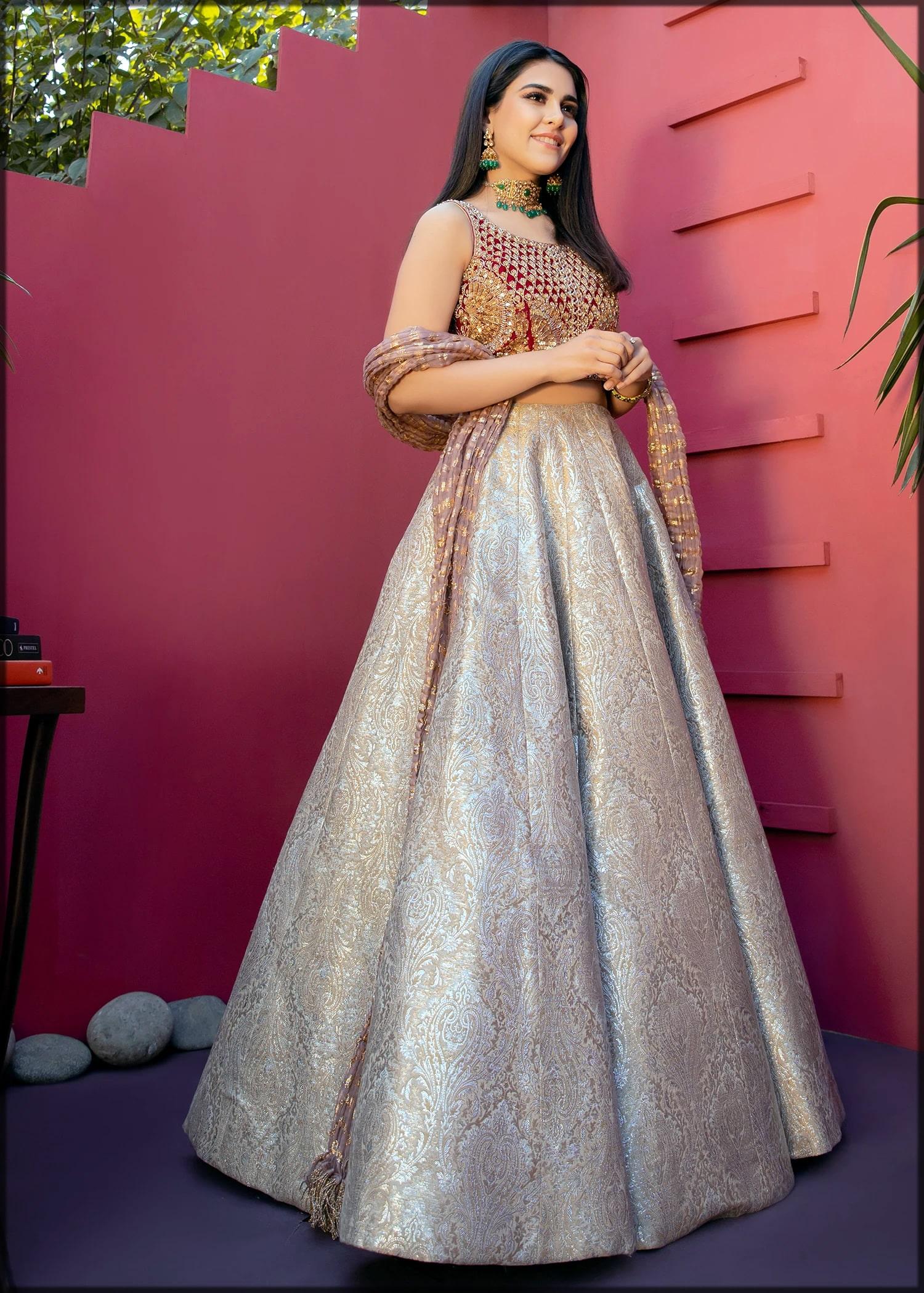 Silver skirt for walima by sadaf fawad khan
