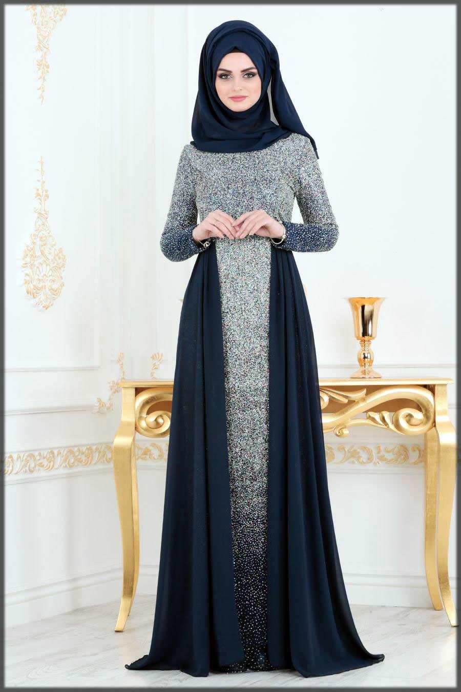 Silver wedding abaya dress