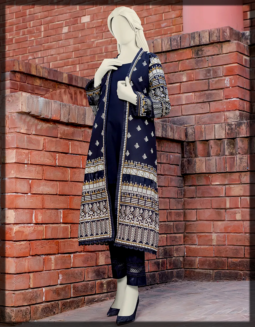 Straight Cut Block Printed Jacket With Organza Insertions And Plain Inner