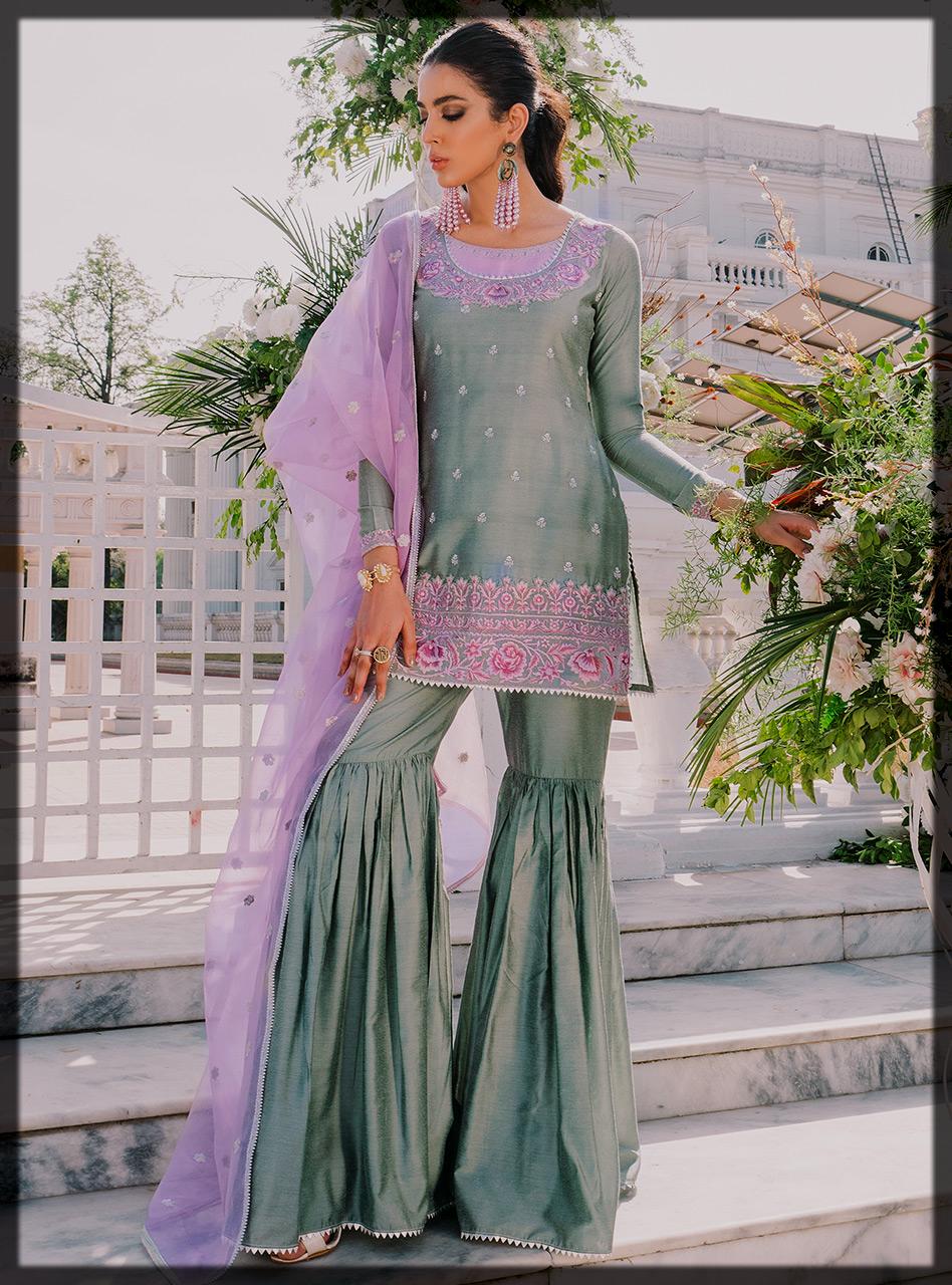 Traditional Short Shirt with Lilac Organza Dupatta and Traditional Silver Gharara