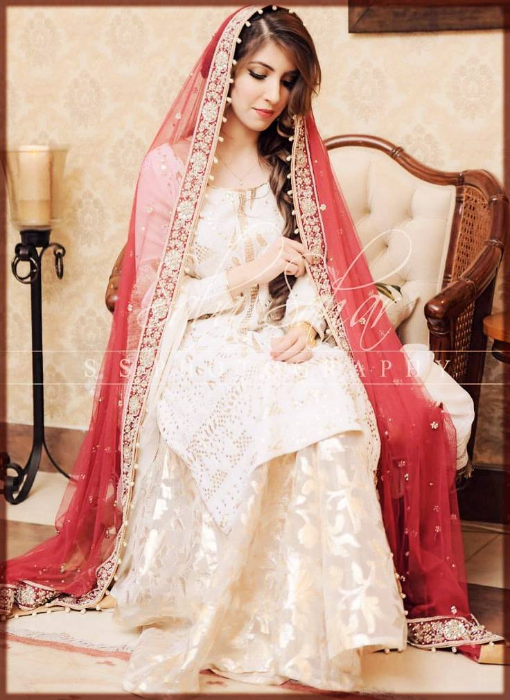 Traditional white and red bridal nikkah dress