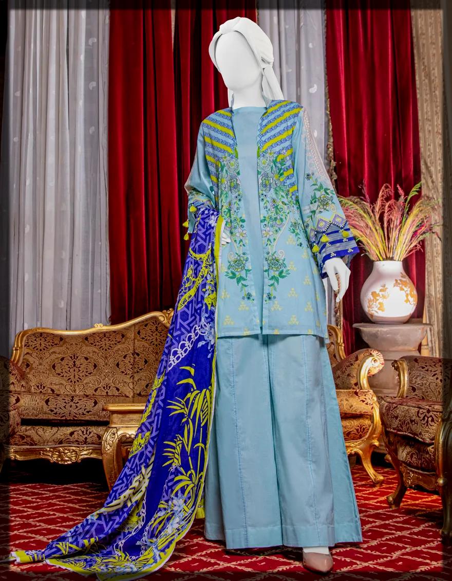 Unstitched 3 Piece eid lawn suit
