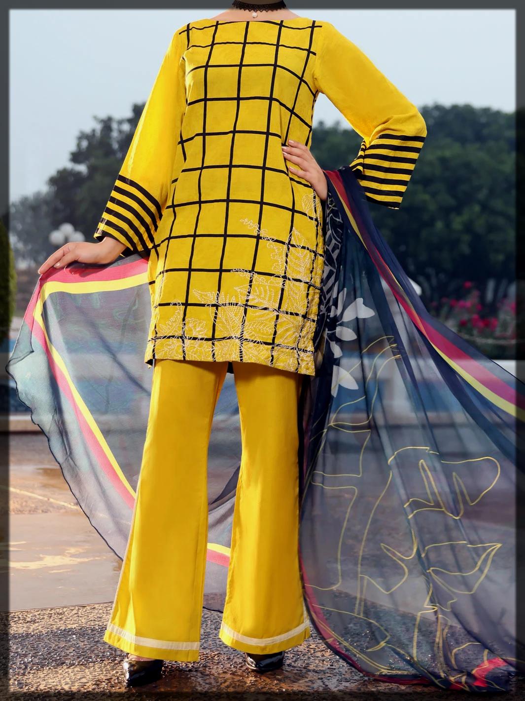 Yellow Jacquard 3 Piece Stitched Suot by Almirah
