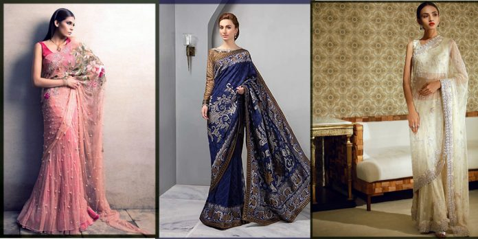 appealing pakistani saree designs collection