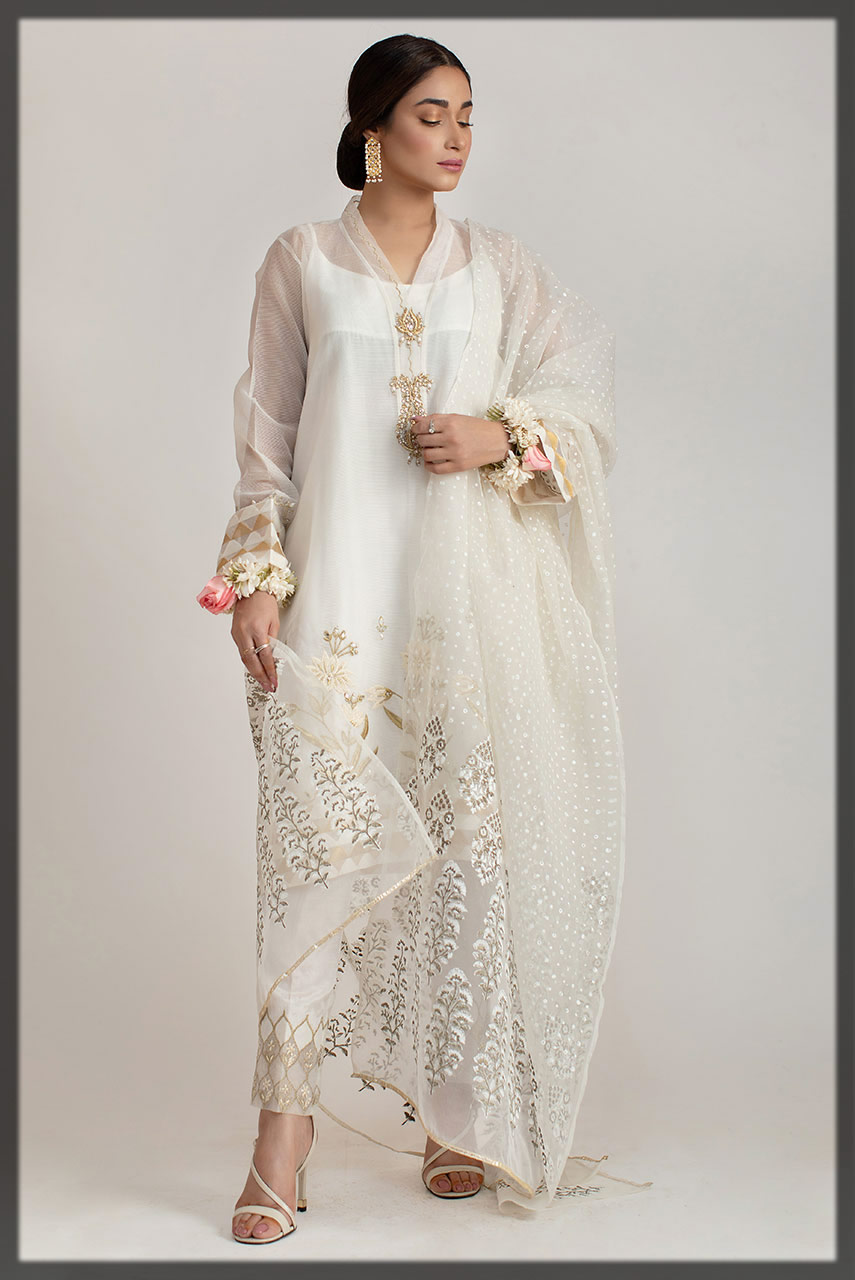 appealing white embroidered suit