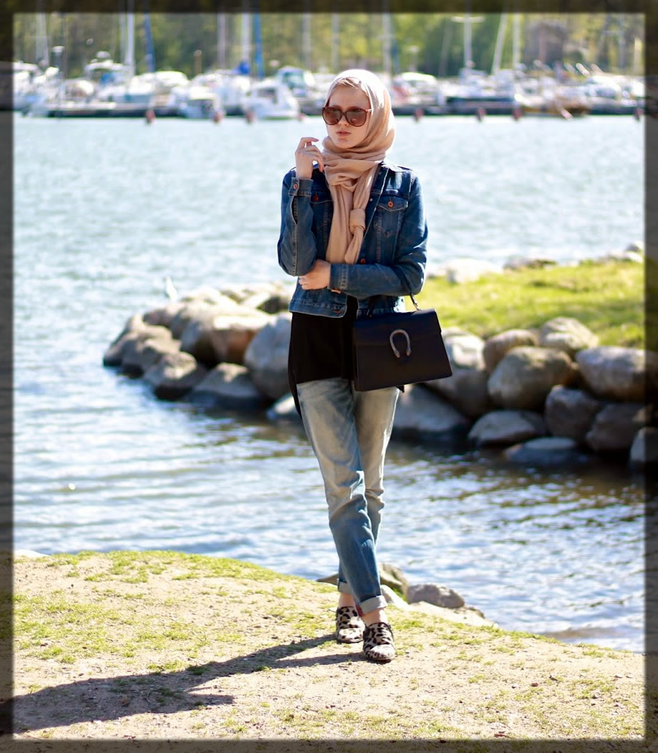 beach party jeans hijab styles