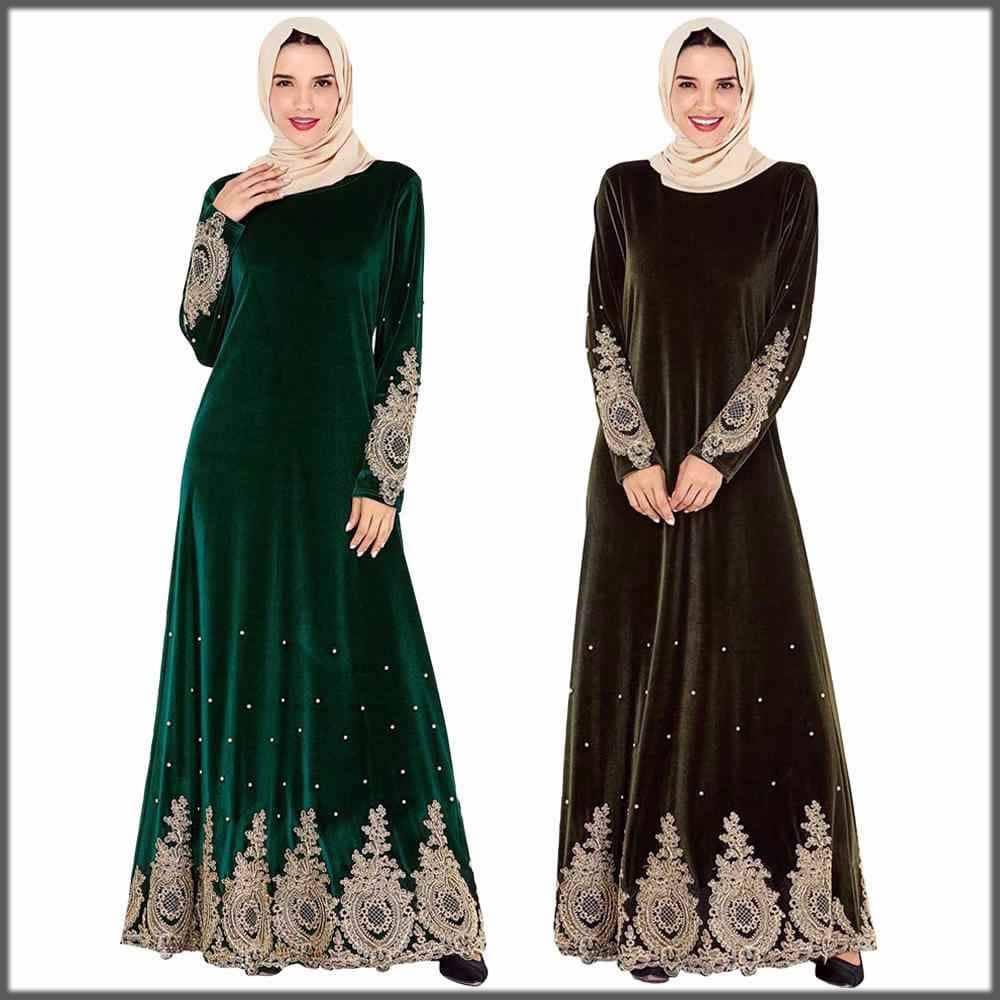 beautiful embroidered velvet abaya for wedding