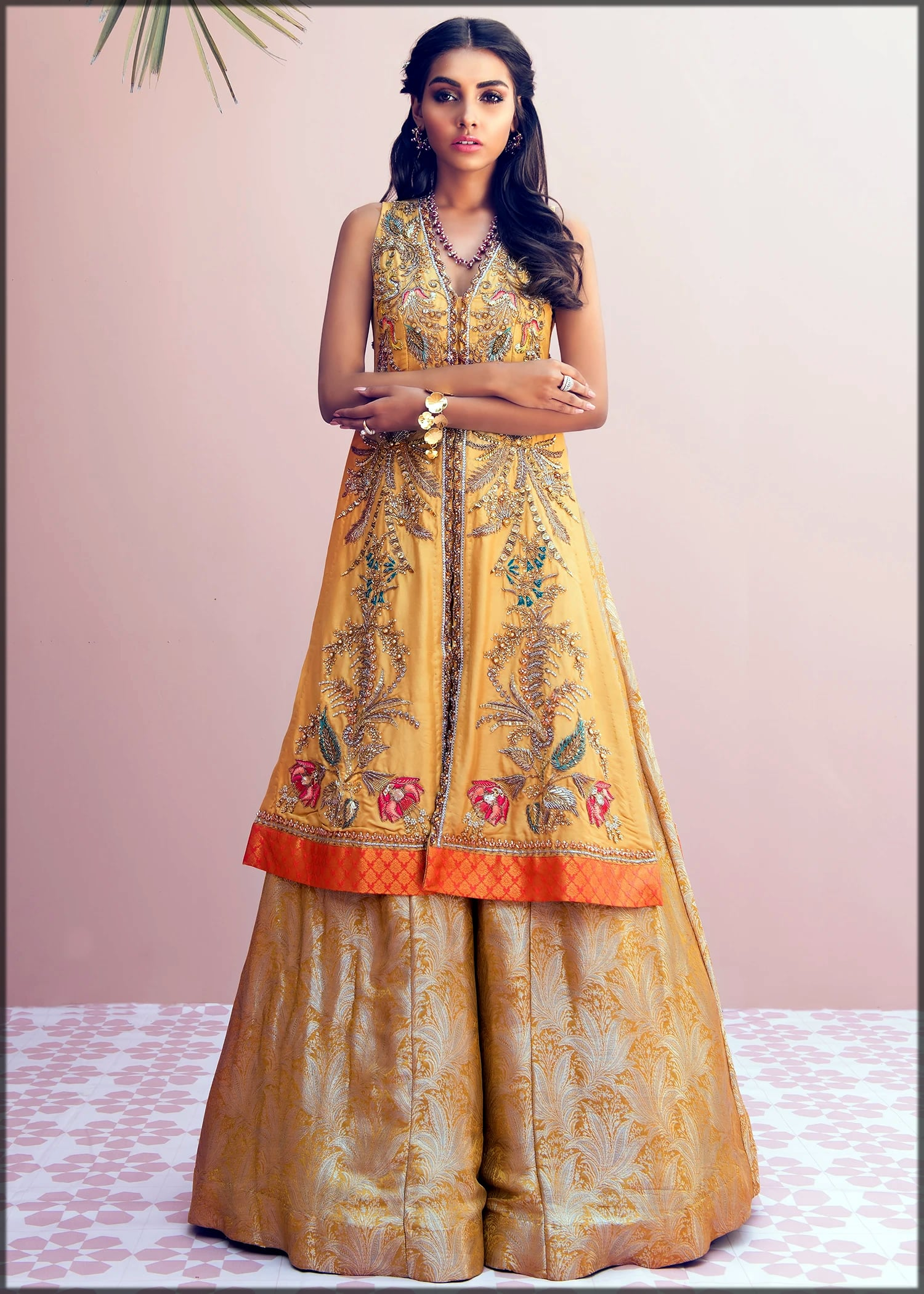 beautiful yellow sharara mehndi dress by sadaf fawad khan