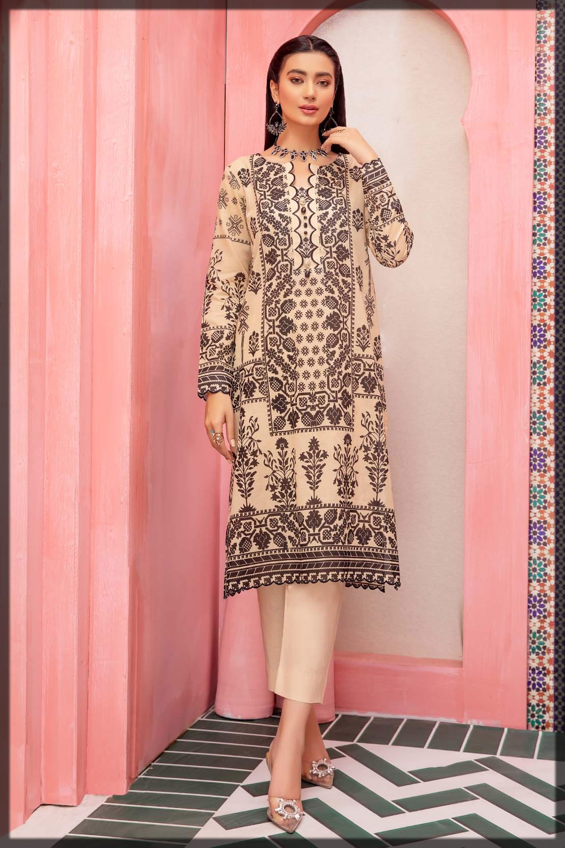 beige embroidered lawn shirt