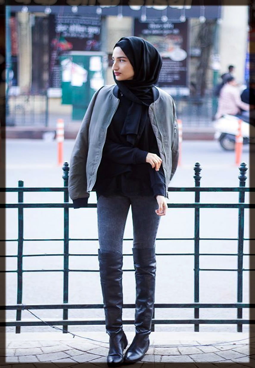 black Hijab Styles With Jeans