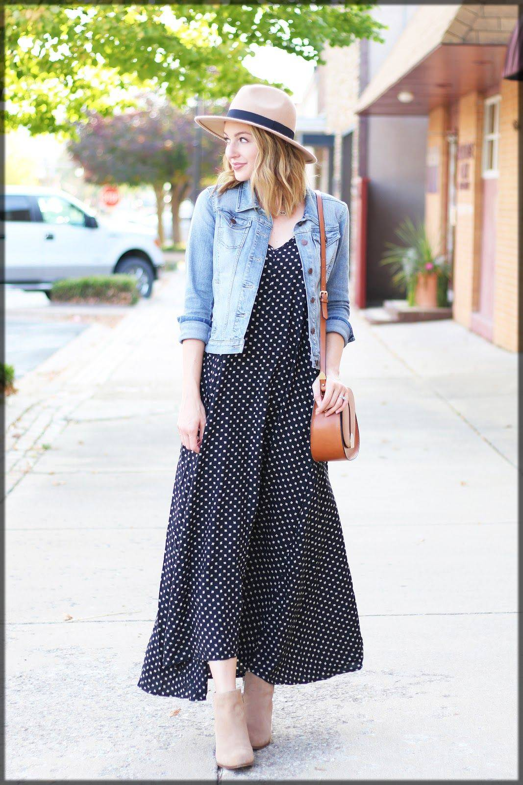 black and white frock with denim jacket
