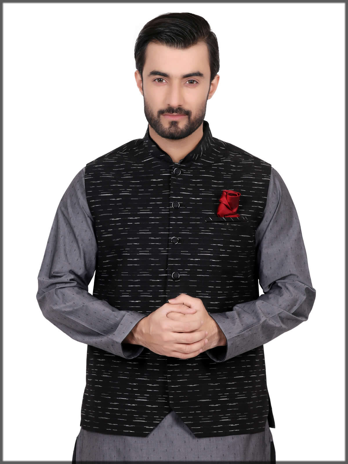 black and white waistcoat by eden robe