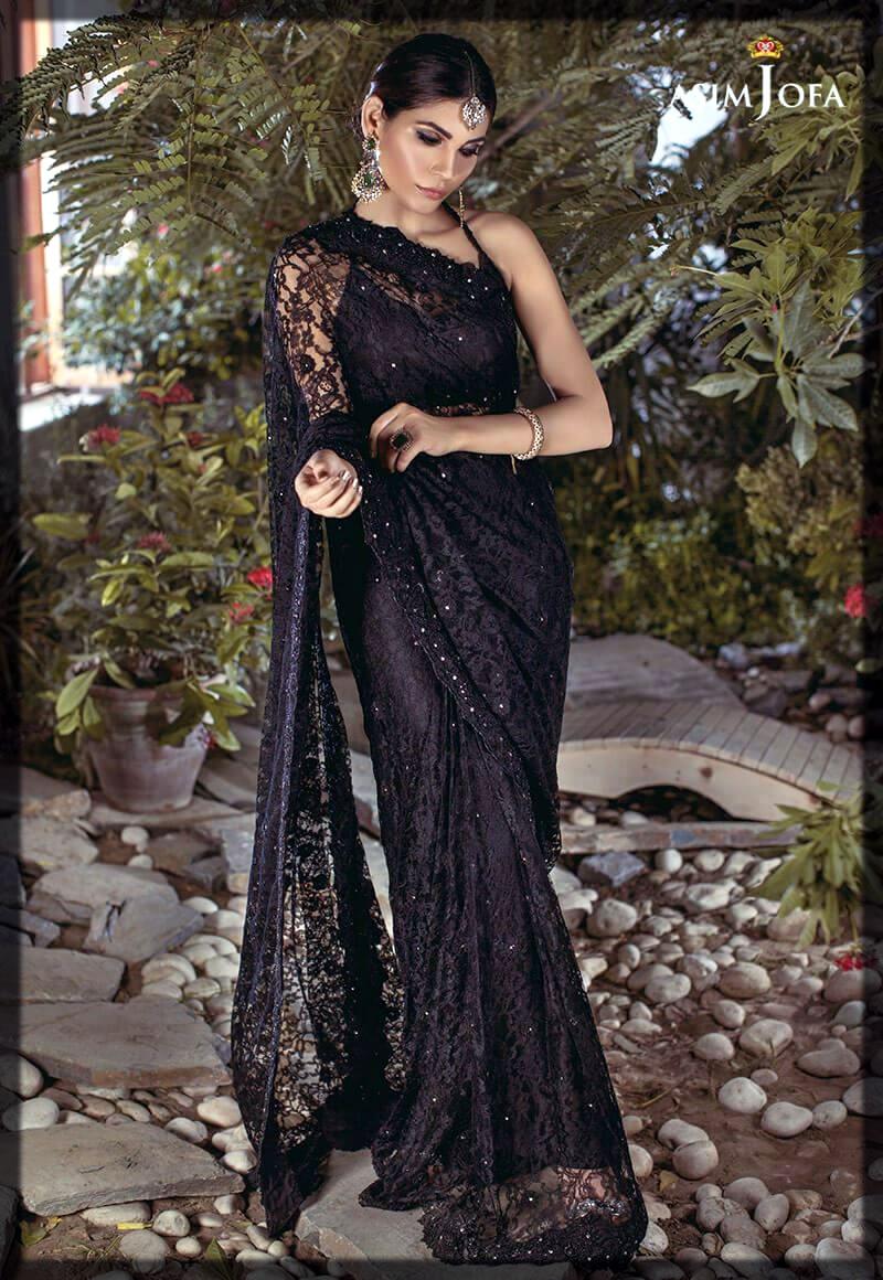 black bridal wear saree