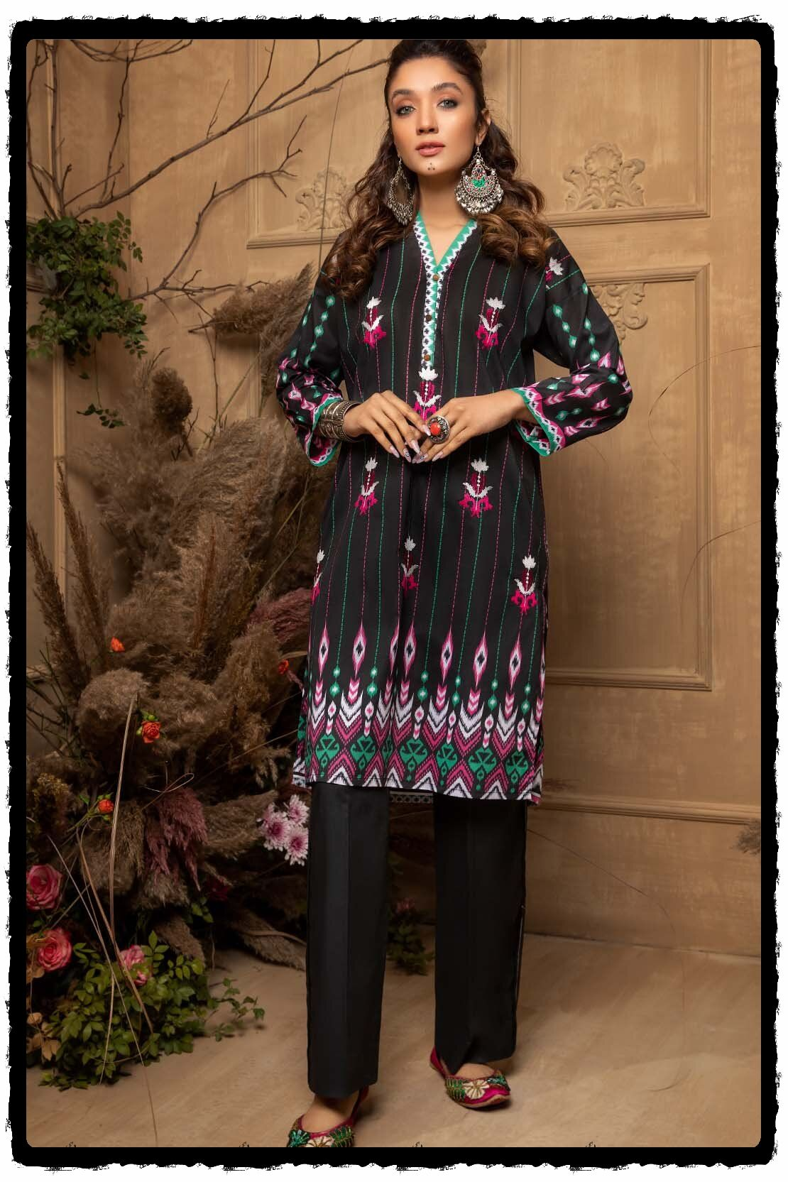 black embroidered lawn shirt