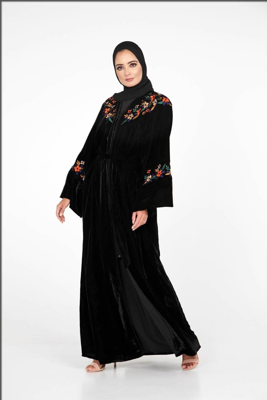 black embroidered velvet abaya