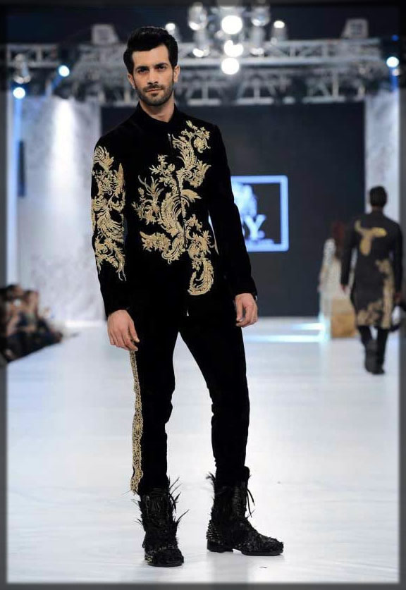 black emroidered coat style sherwani