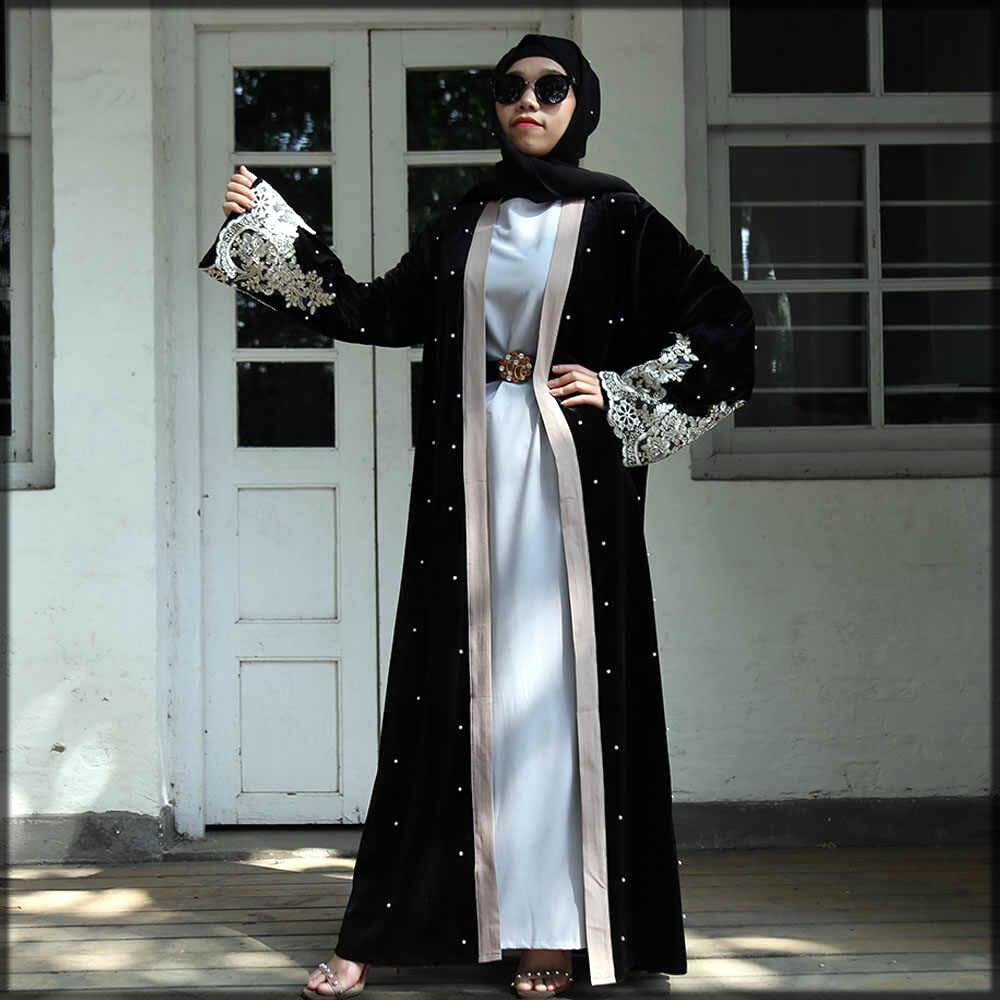 black fancy velvet abaya with open front