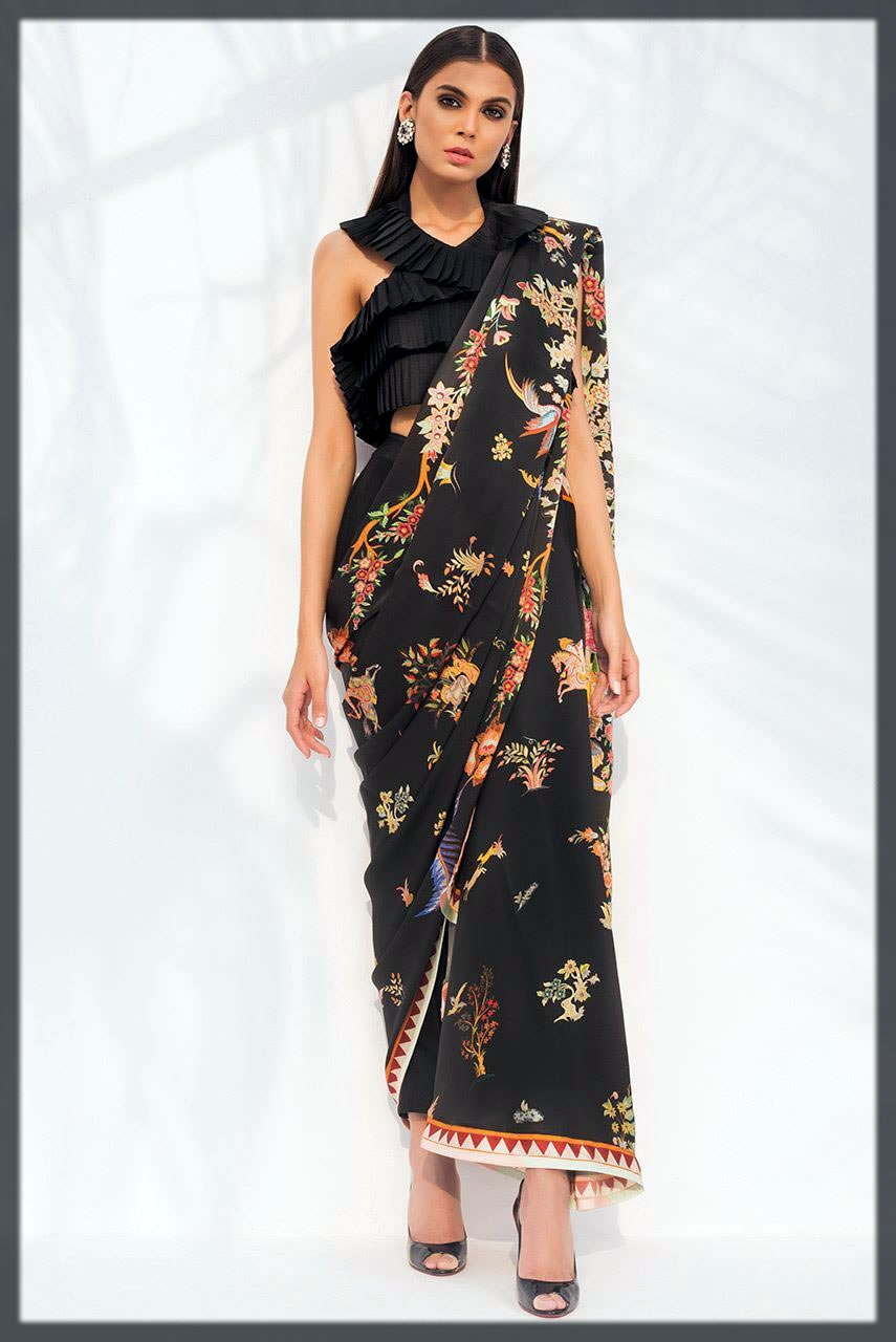 black floral saree design