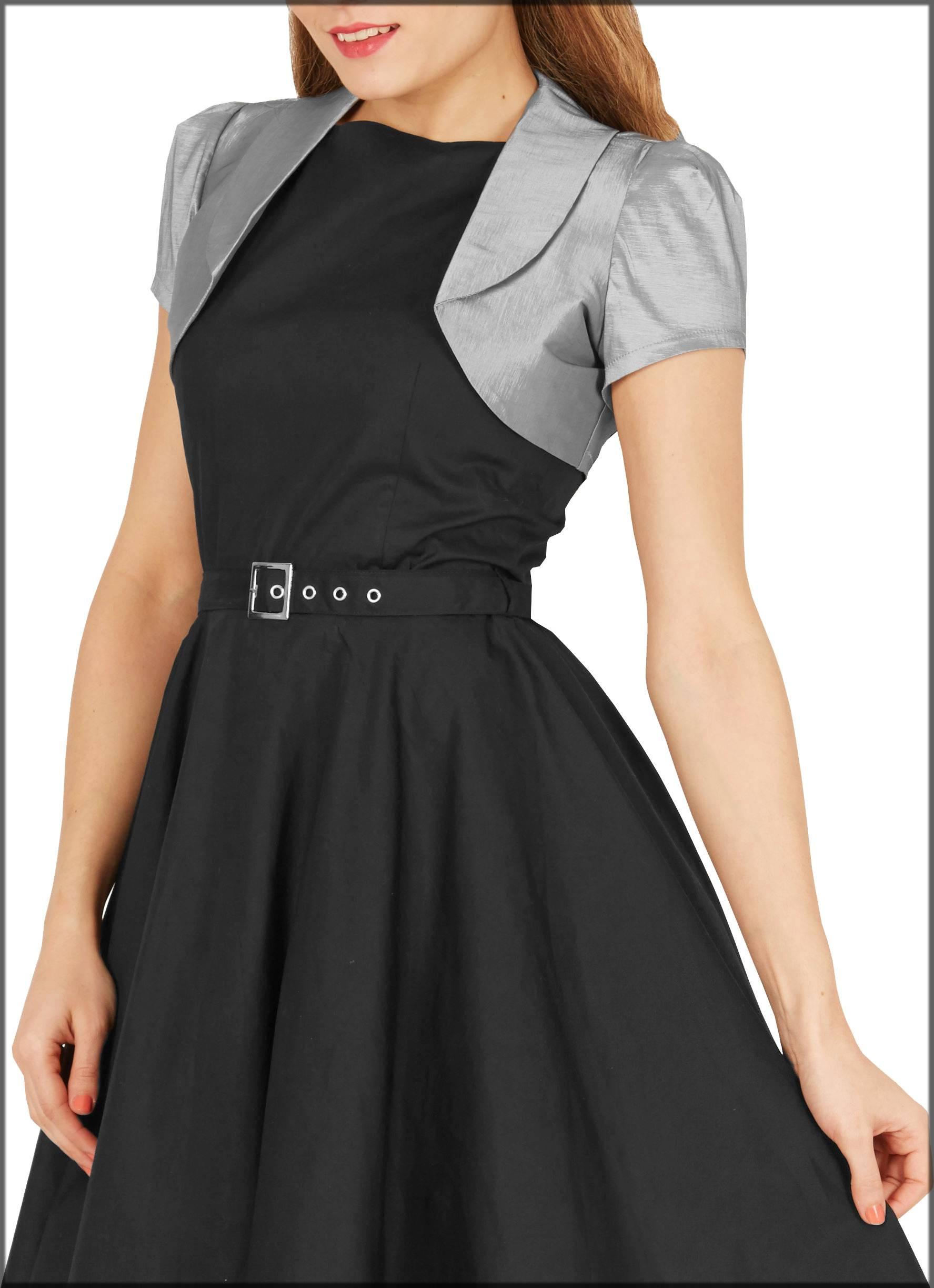 black-grey contrast jacket style frock