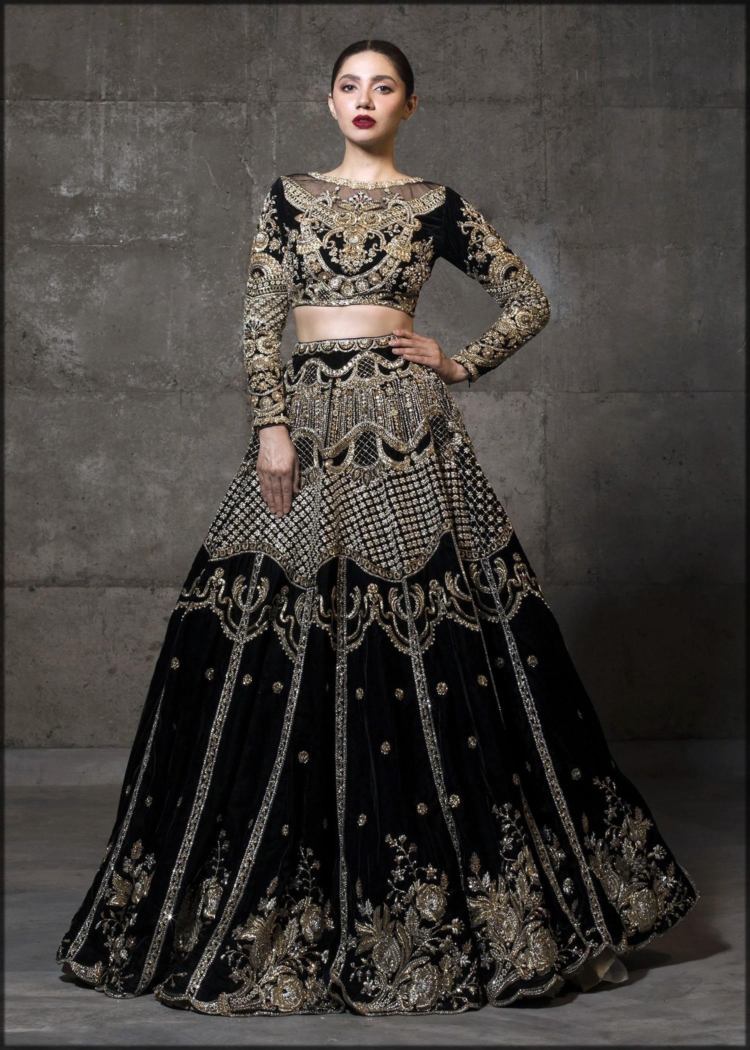 black velvet bridal dress by sadaf fawad khan