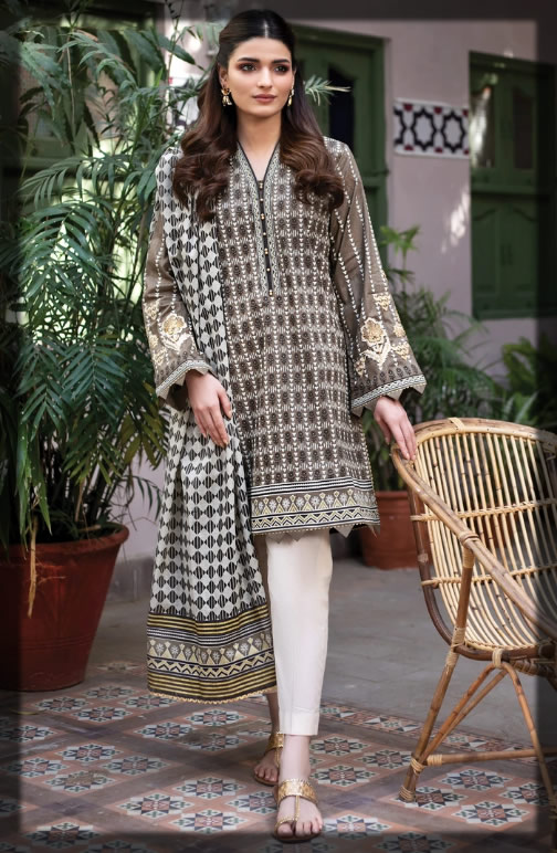 block printed and embroidered lawn dress