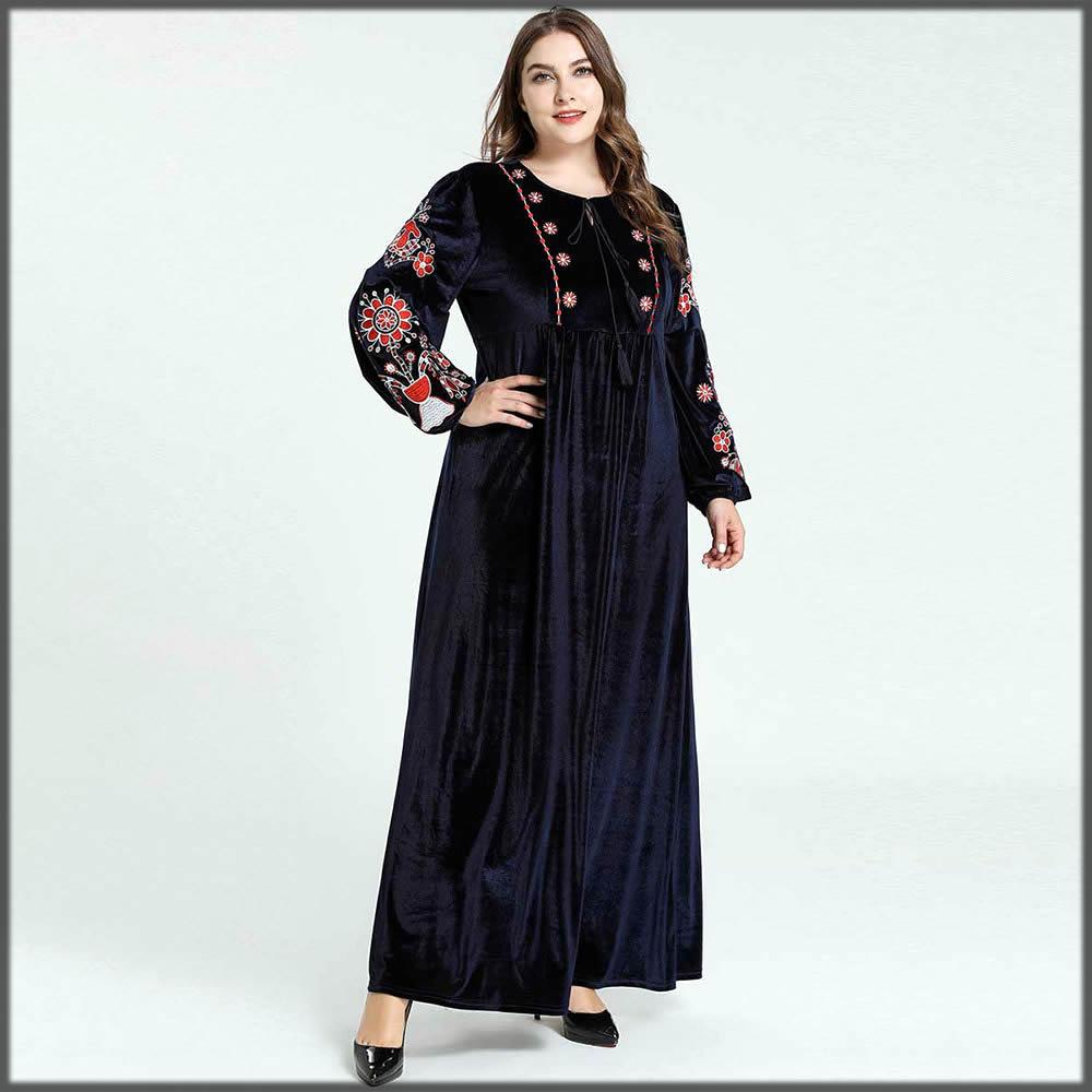 blue casual wear velvet abaya