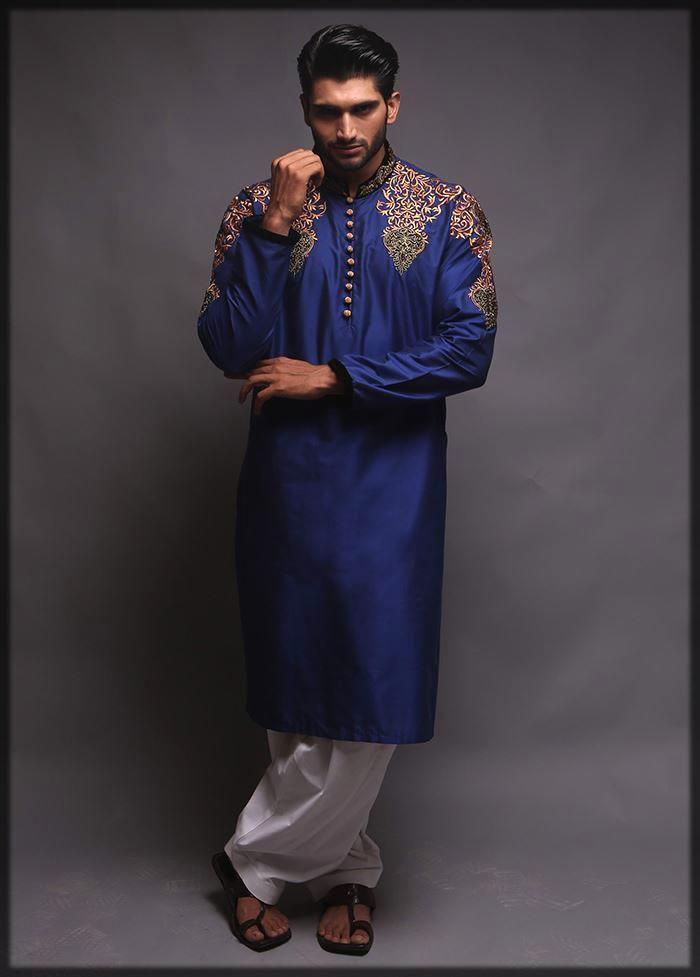 blue embroidered shalwar kameez