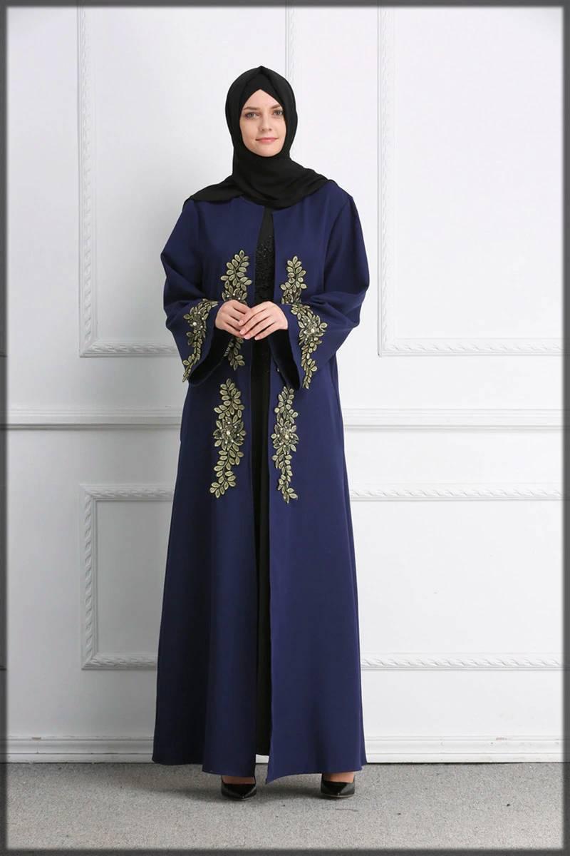blue fancy abaya design