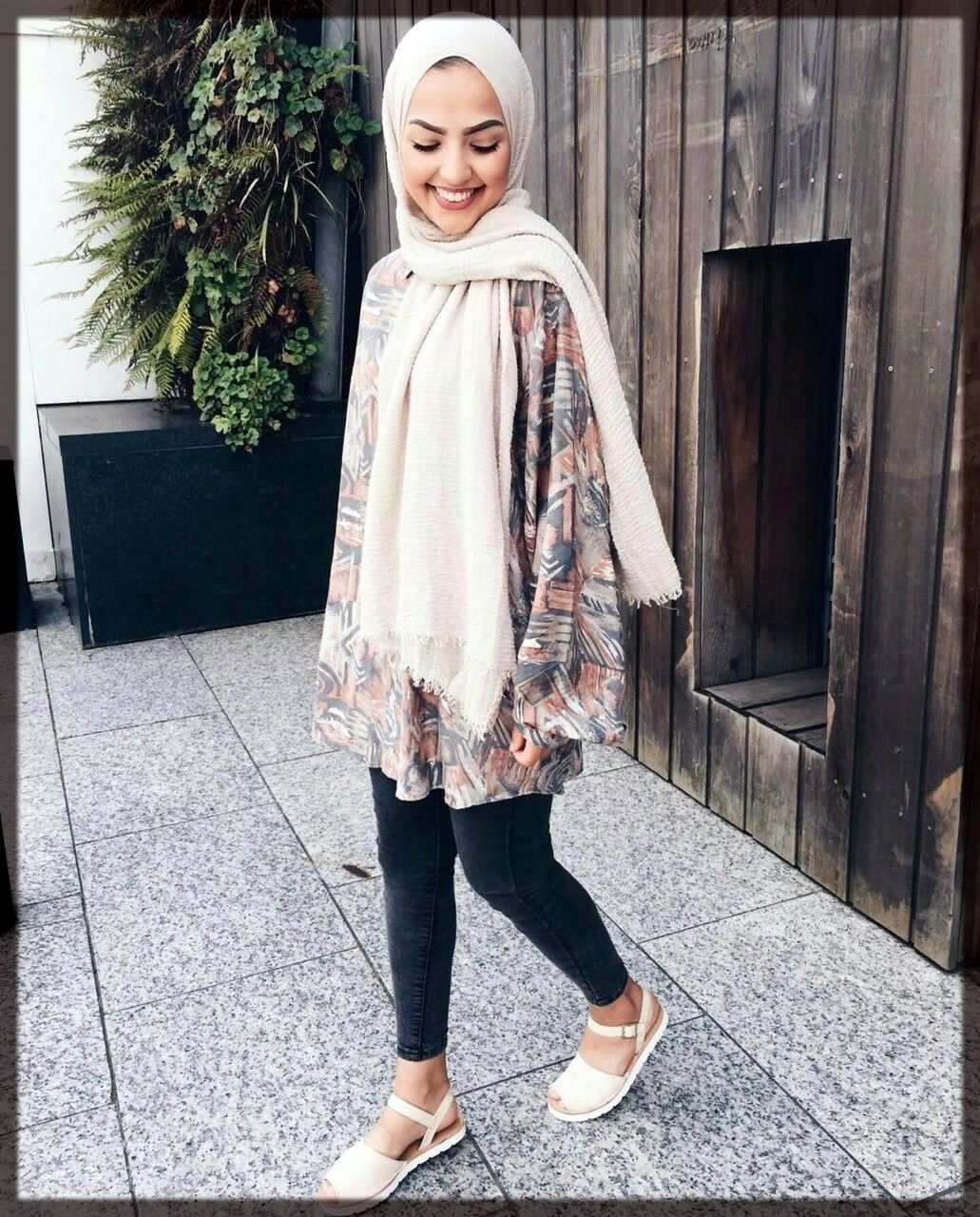 blue jeans with shirt hijab styles