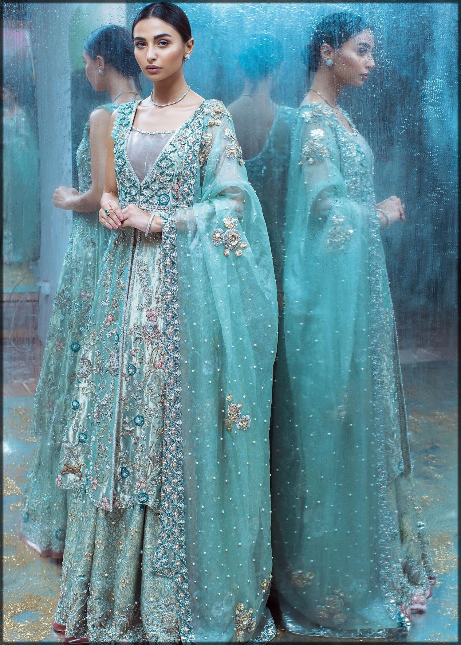 blue long shirt for mehndi function by sadaf fawad khan