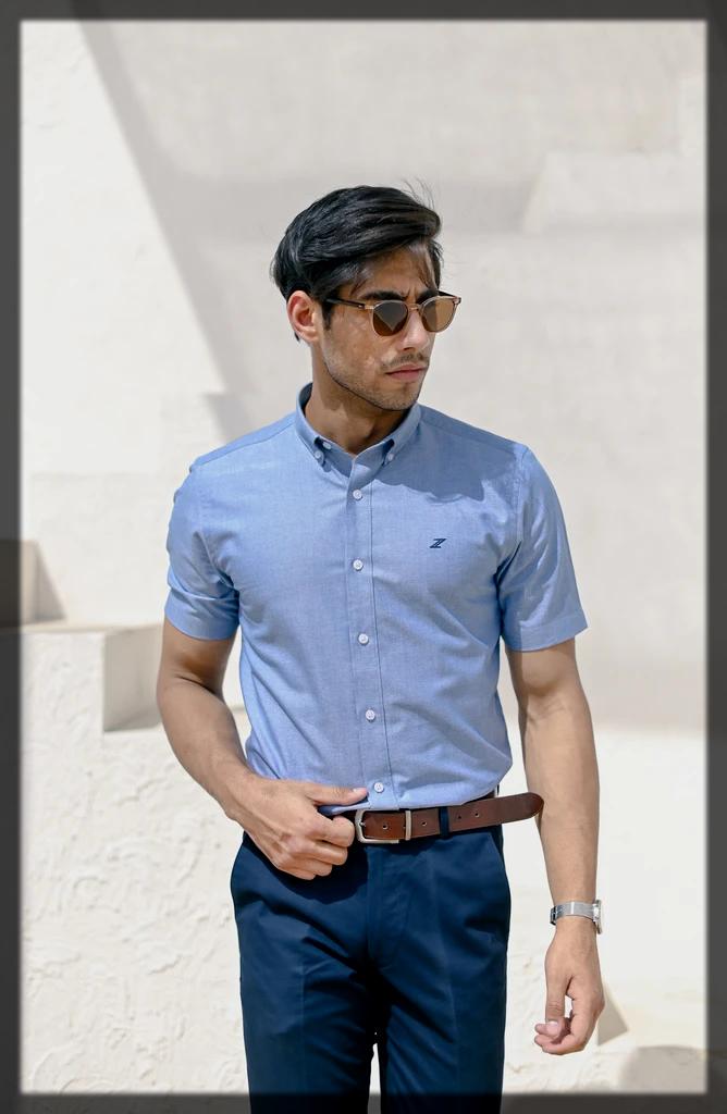 blue summer casual shirt for women