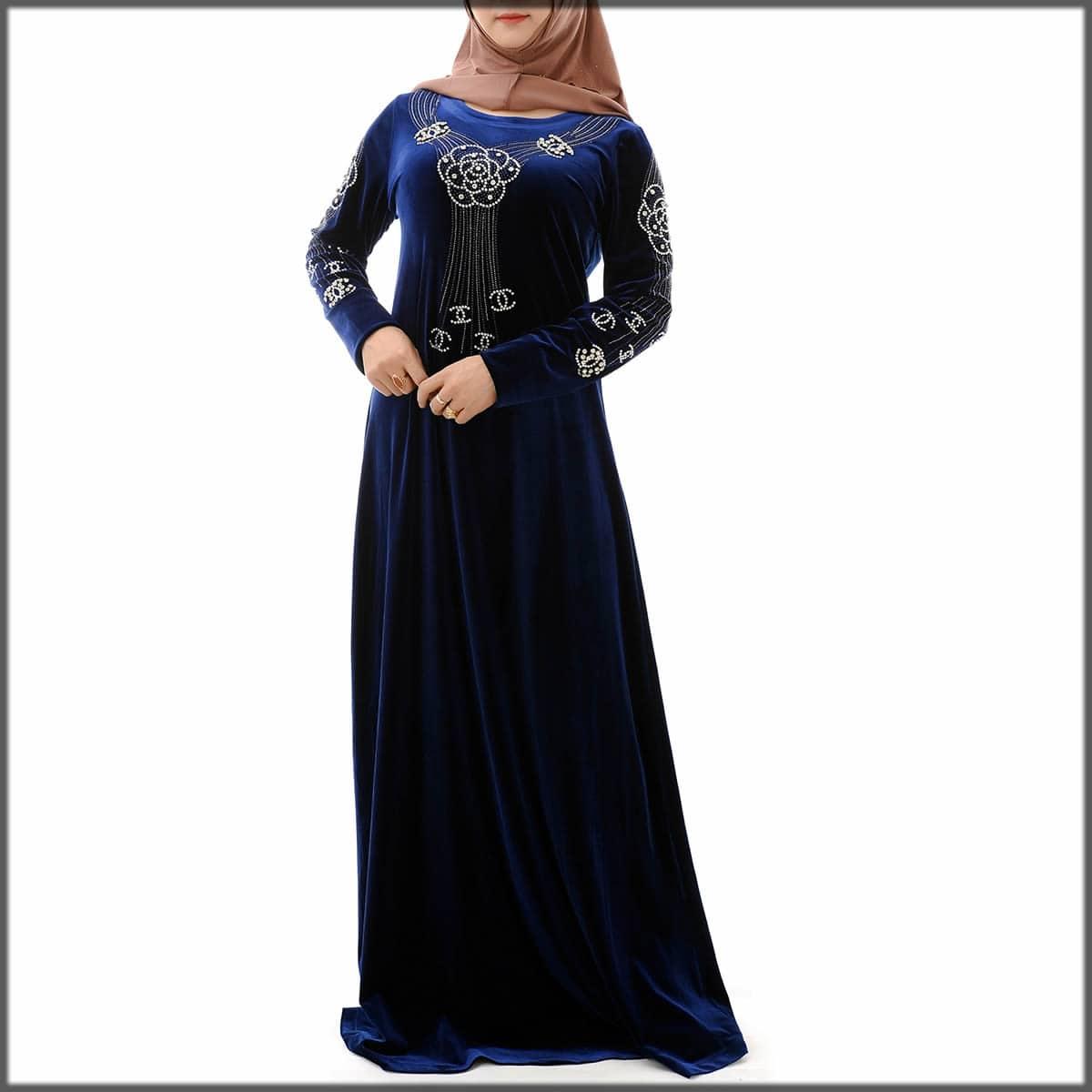 blue velvet printed abaya