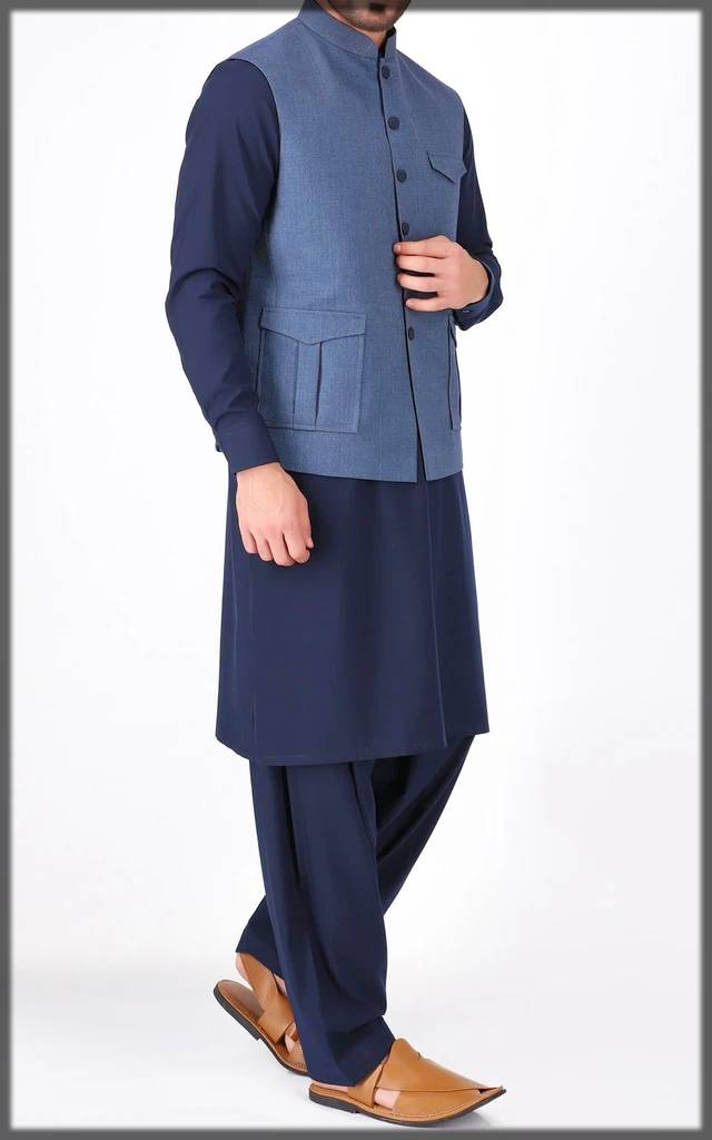 Cambridge kurta collection with blue waistcoat allured with black buttons