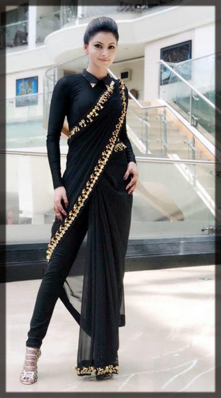 bold black Pant Style Saree