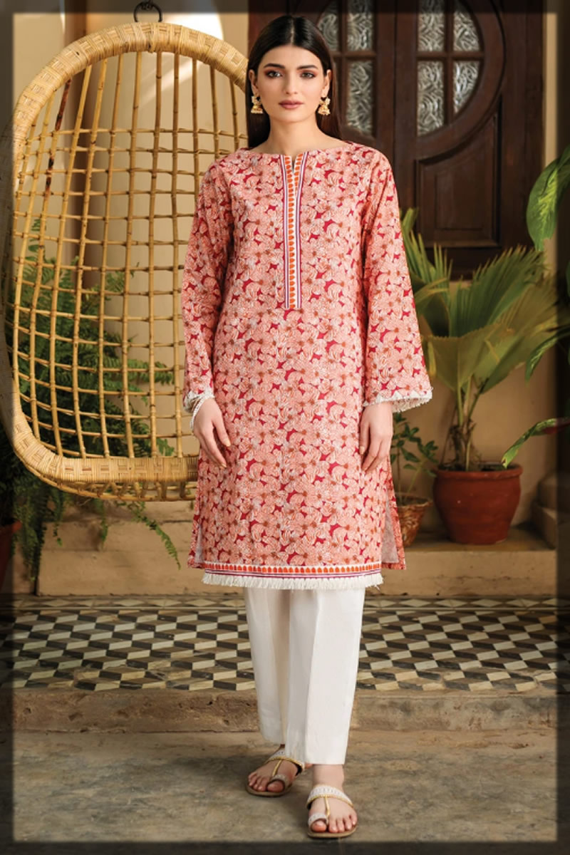 brick red summer lawn shirt Orient Textiles Summer Collection