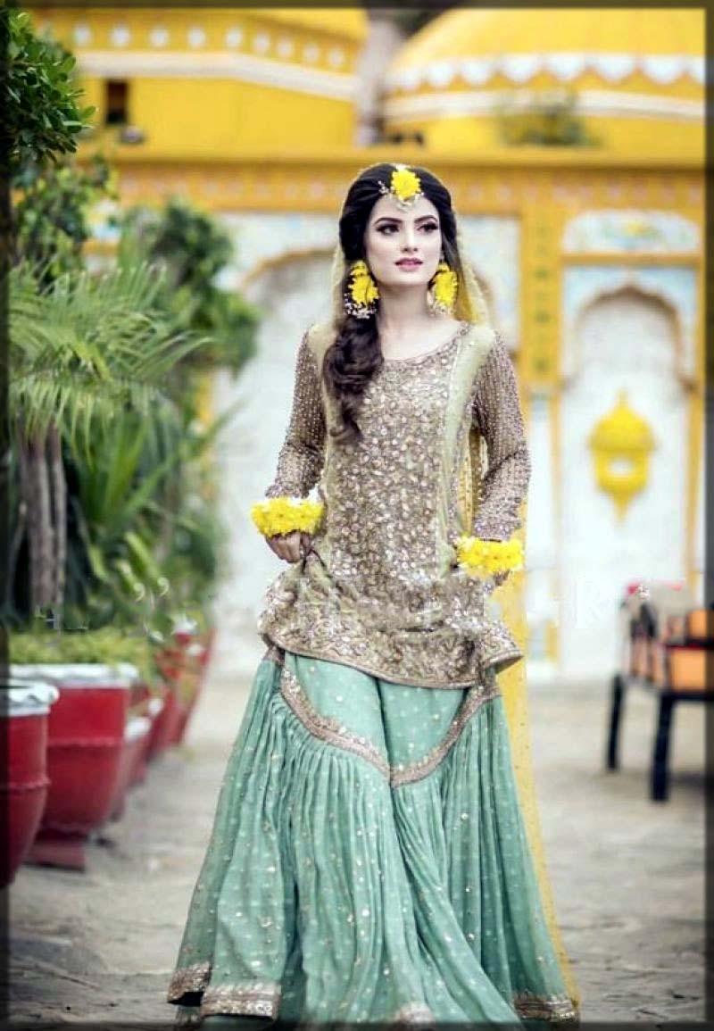 bridal gharara for mehndi