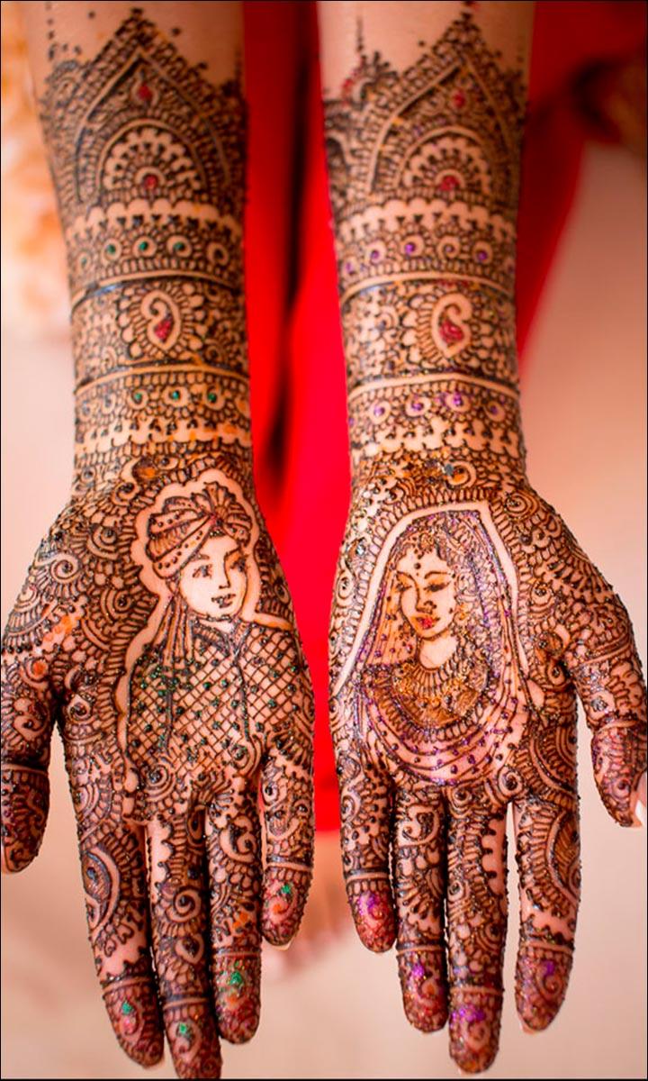 bridal mehndi glitter design