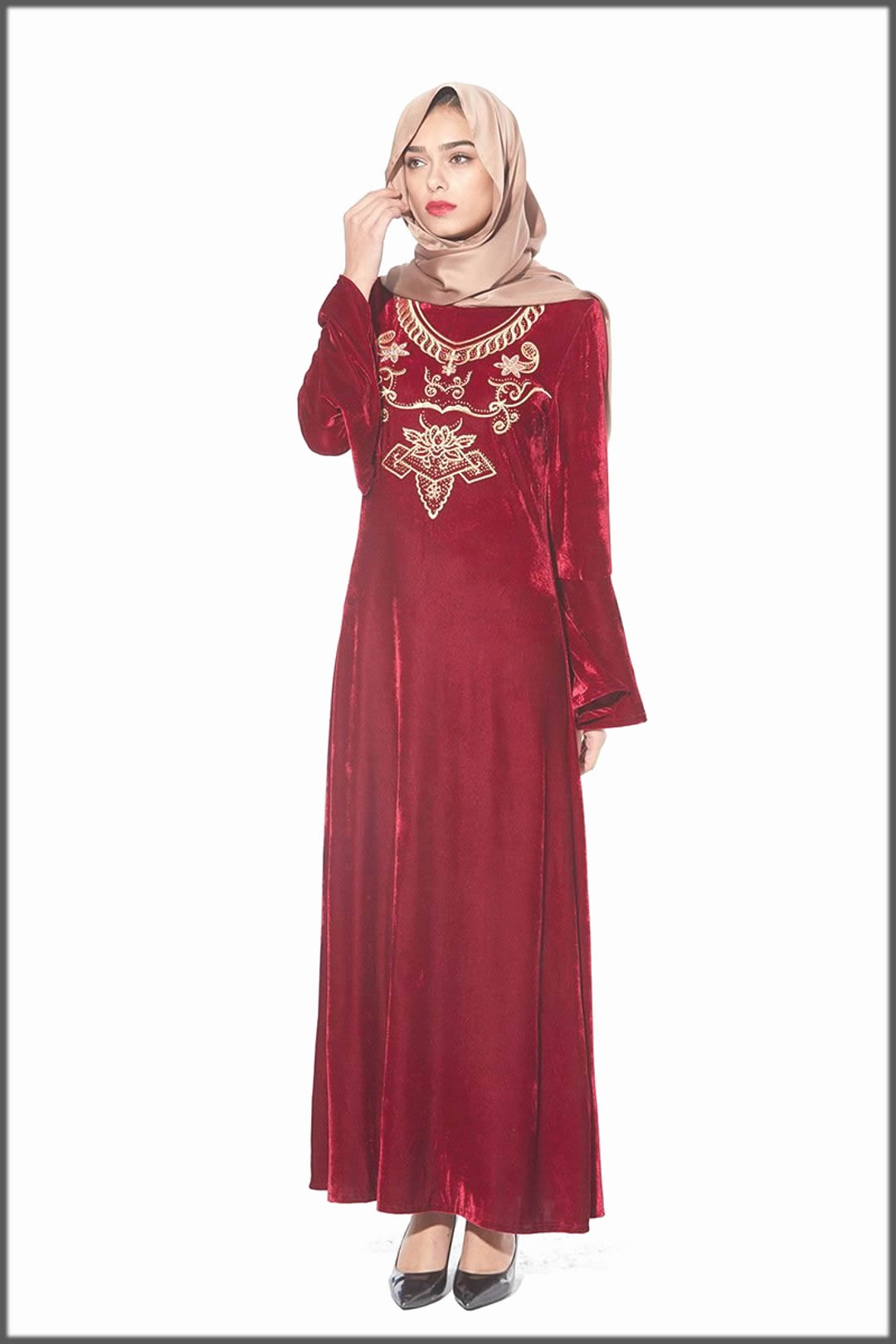 bridal velvet abaya