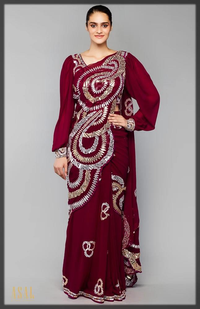 bright Wine Drape Concept Saree Set