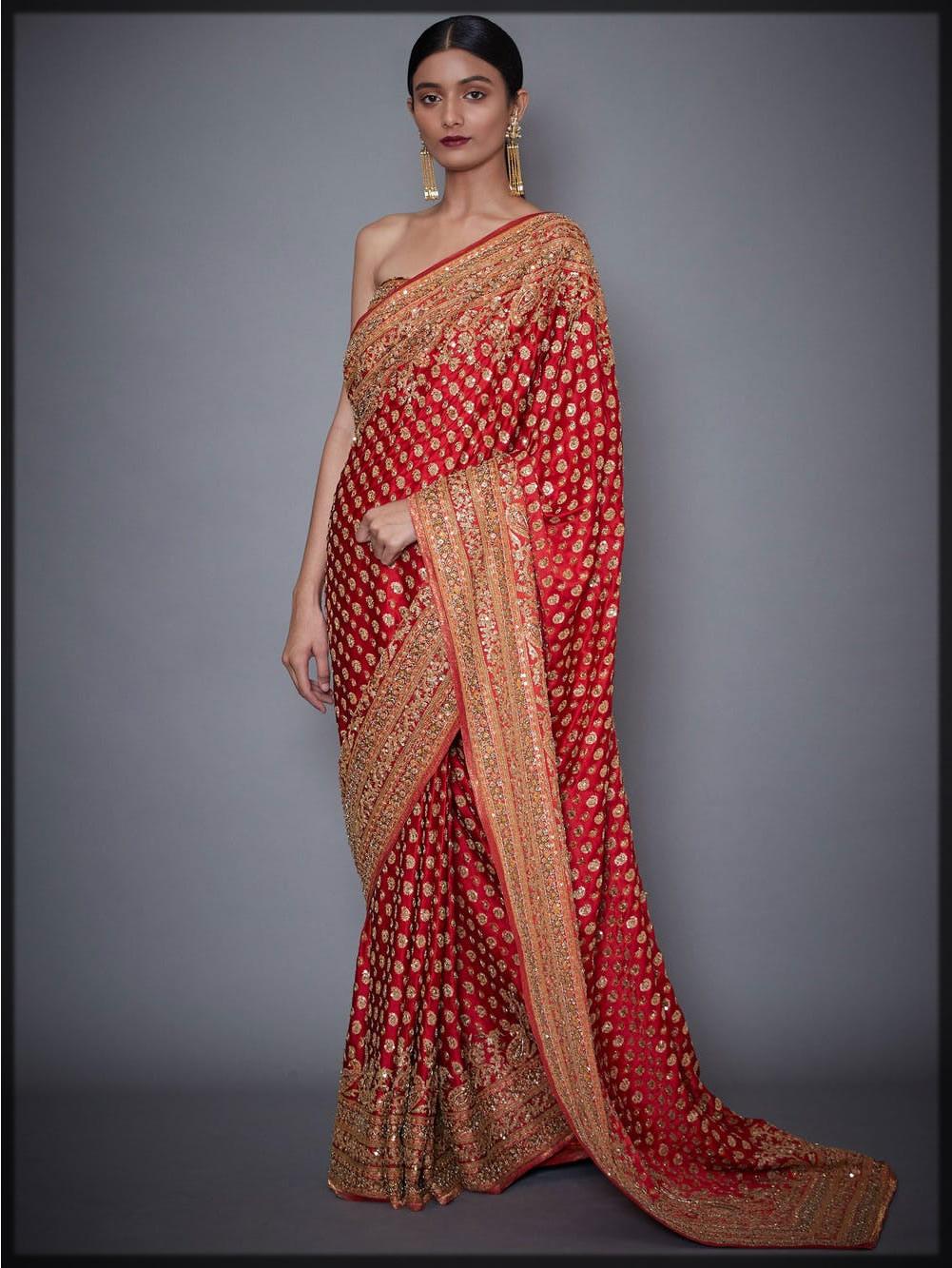 bright red bridal saree